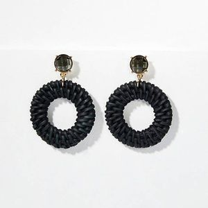 NWT LOFT STRAW AND STONE CIRCLE DROP EARRINGS